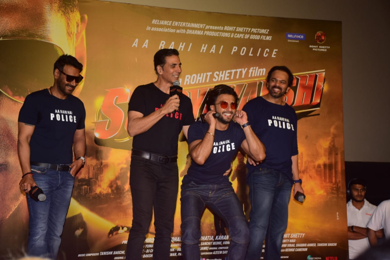 Akshay, Ajay, Ranveer and Rohit Shetty on stage during the trailer launch of Sooryavanshi